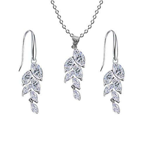 Aabellay Juego de 3 pendientes de collar con piedras preciosas simuladas, para dama de honor, graduación, con diamantes de imitación de cristal, para mujeres y niñas, color plateado