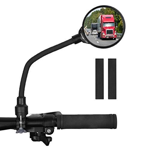 Pulchram - Espejos de bicicleta retrovisores para bicicleta de carretera de montaña, gran angular ajustable, giratorio, manillar montado en plástico espejo convexo (1 unidad)