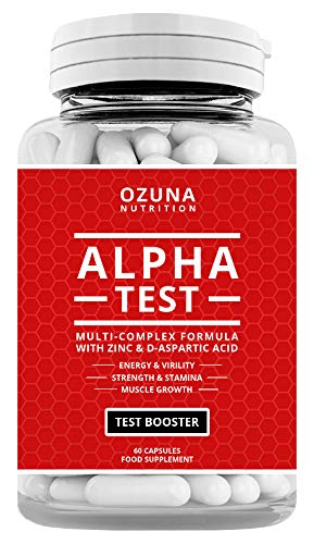 Alpha Test Testosterone Booster for Men for Strength Energy Performance Stamina Reduces Fatigue | Healthy Test Levels with Fenugreek, D-Aspartic Acid, Maca, Zinc, Tribulus Plus More | One Month Supply