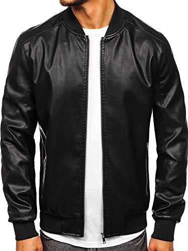 BOLF Herren Lederjacke Biker Jacket Kunstleder Ökoleder Motorrad Jacke Casual Elegant Style J.Boyz 1147 Schwarz XL [4D4]