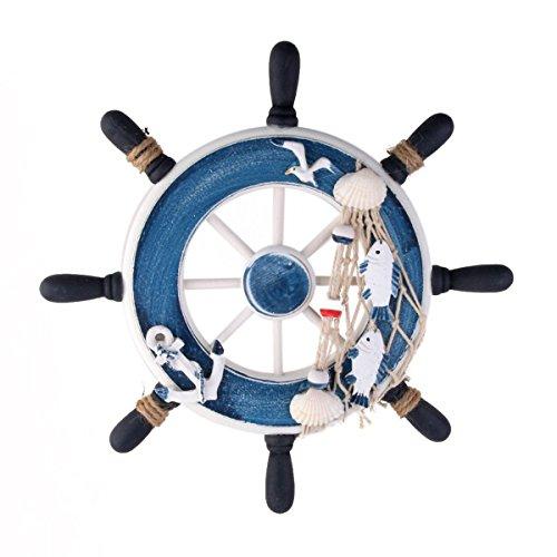 FENICAL Decoración de Pared Adornos Náutica Barco Timón de Madera para Colgar Azul Diámetro 23cm