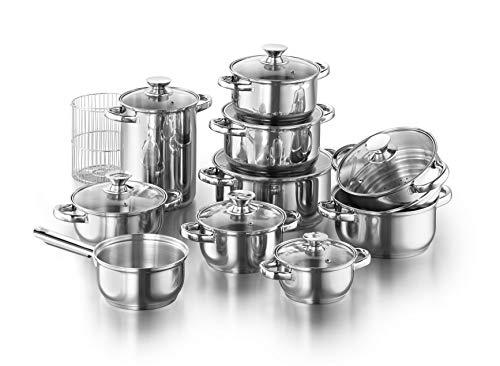 KOPF Juego de ollas Janina de acero inoxidable, utensilios de cocina Juego de ollas de cocina de inducción con escala interior y juego de platos con borde de vertido, 19 piezas