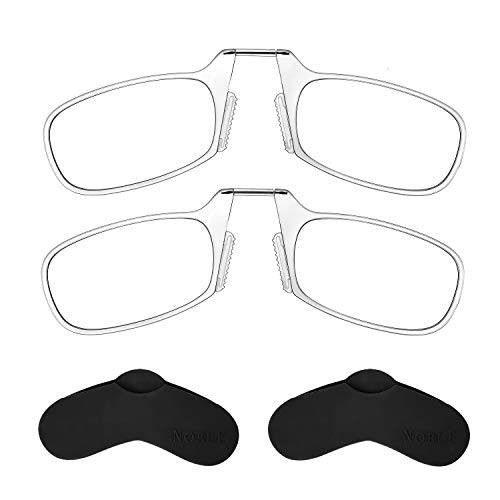 Noble Ultra Slim and Flat Reading Glasses (2 Pairs), Thin, Light and Armless Pocket Size Readers with Stick-On Silicone Case, Compact Metal Case and Microfiber Cleaning Cloth (CLEAR +2.00)