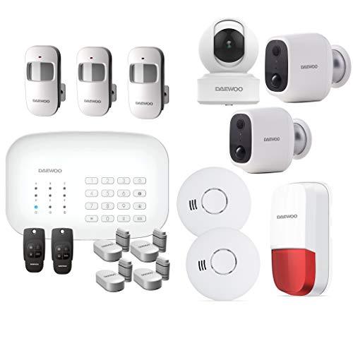 DAEWOO Pack Alarma WiFi/gsm – Modelo Protección + Incluye 13 Accesorios, 3 cámaras y 1 Sirena