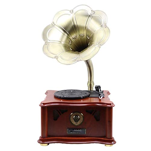 Hejok Retro Wireless Bluetooth Speaker Gramophone With Subwoofer, Vintage Phonograph Shape Aluminum Alloy Copper Housing, 3.5mm Aux-in TF Card Slot