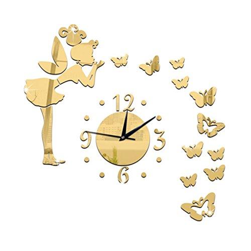 Unbekannt Engel Schmetterling DIY Kunst Große Wanduhr Aufkleber Mit 3D Acryl Spiegel Wandaufkleber Für Wohnzimmer Schlafzimmer Küche Büro Kinderzimmer Dekoration (Farbe : Gold)