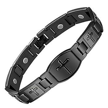 Jecanori Titanium Steel Magnetic Bracelet for Men Arthritis Cross Stainless Steel Therapy Bracelet Pain Relief and Carpal Tunnel 99.9% Bracelet,Ultra Strength 3500 Gauss Magnets,Black