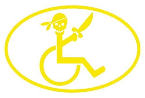 【全16色】車椅子マーク/車イス サイン/カー ステッカー/Car/スカル/ドクロ/車用/シール/ Vinyl/Decal /バイナル/デカール/-3B (黄色) [並行輸入品]