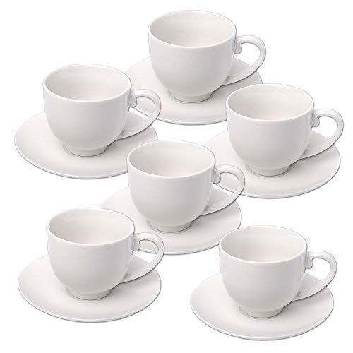 DRULINE - Set di 6 tazzine da caffè con piattino, colore: Bianco