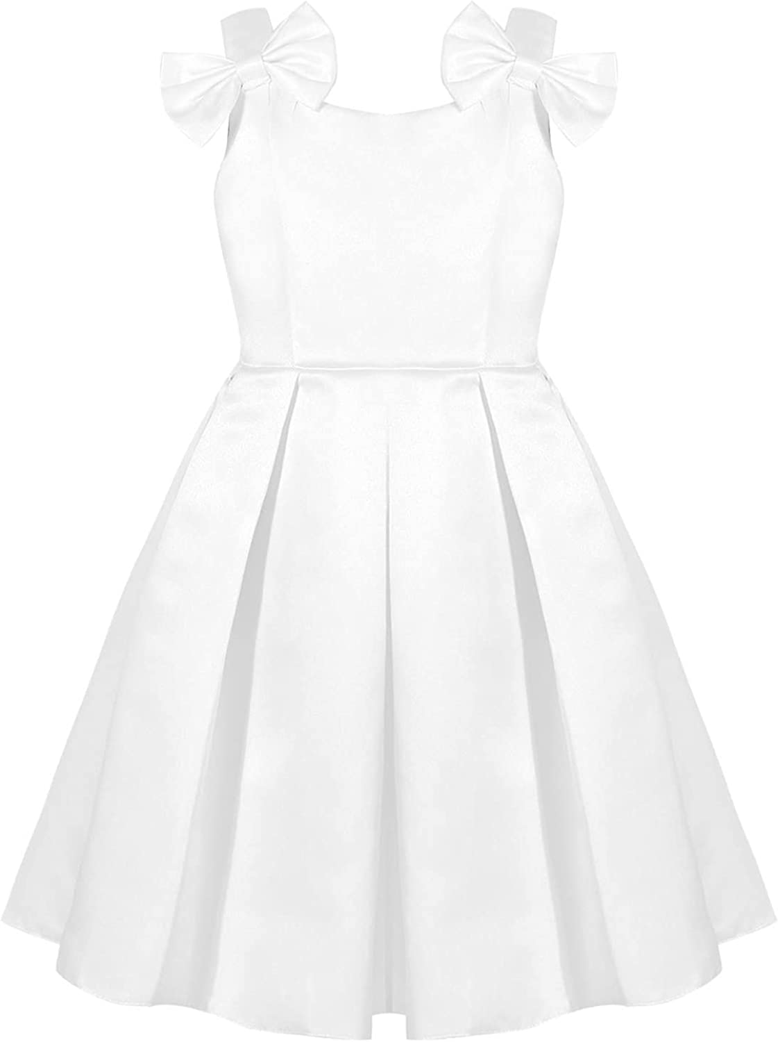 CHICTRY Girls Satin Princess Dress Bowknot Sleeveless Pleated Pageant Wedding Party Dresses