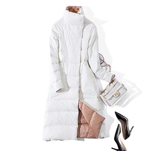 WEIYYY Tallas Grandes 3XL Chaqueta Larga de plumón de Doble Cara para Mujer Abrigo de plumón as cálidas de Invierno con Doble Botonadura Ropa de Abrigo para la Nieve, Blanco, XL