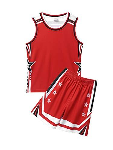 Aislor Basketball Trainingsanzug Set Kinder Unisex Basketball Fußball Trikot Atmungsaktiv Shirt mit Shorts Loose Fit Sportanzug Zweiteiler Rot 134-140