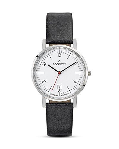 Dugena Herren Quarz-Armbanduhr, Gehärtetes Mineralglas, Lederarmband, Moma, Schwarz/Silber, 4460735
