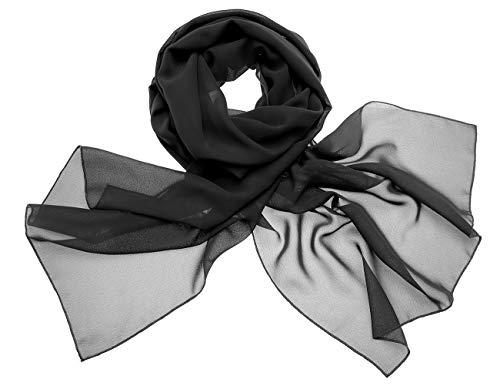 Dresstells Chiffon Schal Stola für Abendkleider in Verschiedenen Farben Black 190cmX70cm/ Medium