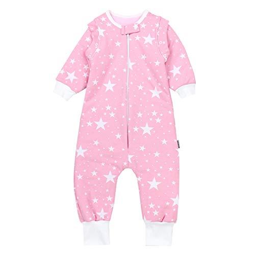 TupTam Baby Unisex Schlafsack mit Beinen und Ärmel Winter, Farbe: Weiße Sterne/Rosa, Größe: 92-98