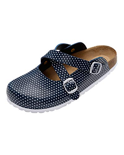 CLINIC DRESS - Damenclog Dunkelblau Polka Dots Navy/weiß, Motiv Polka Dots 37