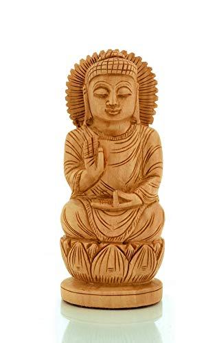 CKHandicrafts Lord Buddha Statue God Buddha Sitting Round Shaped Fine Carved Handmade Wooden 6 Inch Figurine