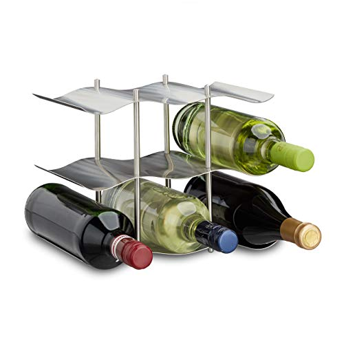 Relaxdays Casier à vin pour 9 bouteilles en inox 3 étages design moderne range-bouteilles HxlxP: 22 x 27 x 16,5 cm, argenté