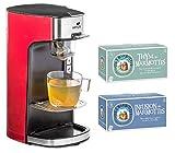 Senya Machine à Thé Tea Time Théière électrique Rouge 1415W et Lot de 2 boîtes d'infusion – 60 sachets - Les 2 Marmottes (Thym + Infusion des Marmottes)