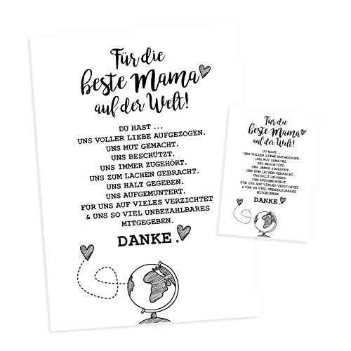 Für unsere beste Mama der Welt I DIN A4 Poster und Postkarte im Set I Geschenk-Idee zum Geburtstag Muttertag I Danke sagen I schwarz weiß I dv_447