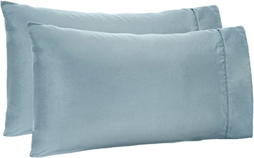 AmazonBasics Light-Weight Microfiber Pillowcases - 2-Pack, King, Spa Blue