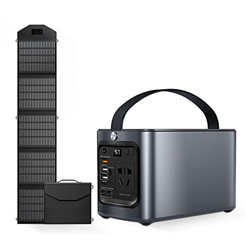 WMQ Generador portatil,Generador Solar de 120 w / 43500 mAh con Panel Solar Plegable de 1x100 W, Fuente de alimentación de Emergencia, Paquete de baterías de Litio para Acampar al Aire Libre, Pesca