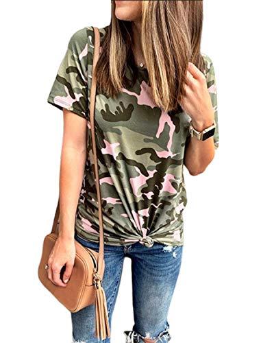 ZANZEA Camisetas Mujer Manga Corta Holgada Camuflaje Top Tallas Grandes Cuello V Casual Blusa Suelta T Shirt Z-Verde Militar L
