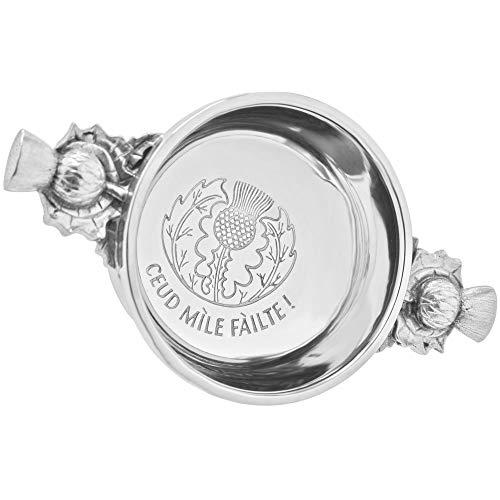 English Pewter Company Ceud Mile Failte Celtic Pewter Scottish Quaich Whisky Tasting Bowl Loving Cup [PQ531-2.5]