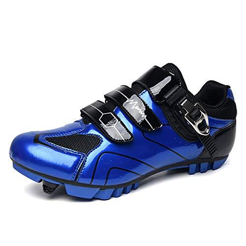 SPD Scarpe da ciclismo da uomo MTB MTB Scarpe da bici da strada traspirante Outdoor Cycle Shoes con tacchetti SPD, Blu (Blu), 41 1/3 EU