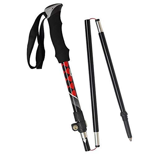 XYL HOME Pôle de randonnée en Carbone_! Après 38cm bâton de Trekking en Carbone Ultra léger en Fibre de Carbone, Plaid Rouge et Noir, 1100-1250
