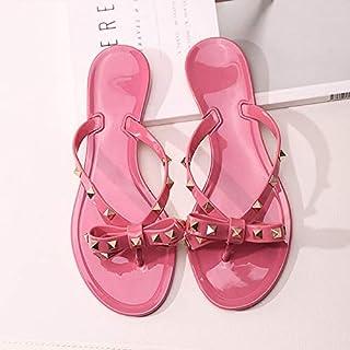 حذاء نسائي برشام القوس شقة soled الصنادل غير زلة هلام الأحذية المطاطية أحذية الشاطئ 35 Pink