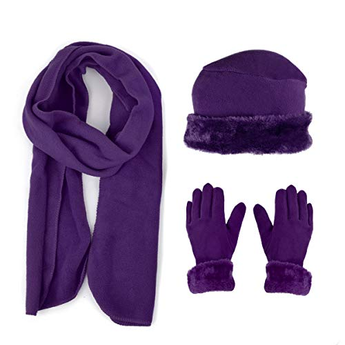3 Pieces Set Matching Hat, Gloves and Scarf for Woman. Solid Colors - Purple