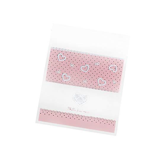 Cosanter 100 Pcs Sac à Gateau Motif d'amour Stand Up Pouch réutilisable refermables Grip Seal Sacs de Stockage de Nourriture Sac d'emballage Pochettes