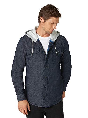 Wrangler Authentics Men's Hooded Flannel Lined Twill Shirt, Nebulous Blue, Large