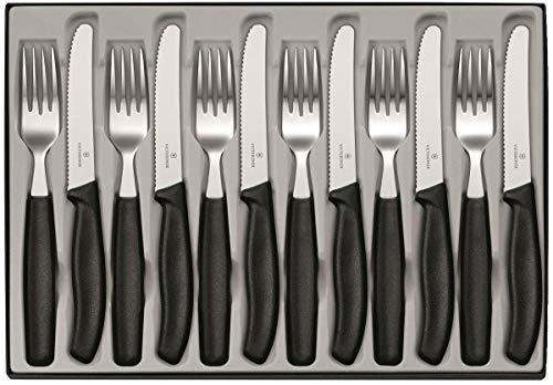 Victorinox Swiss Classic 12-tlg. Besteck Set, für 6 Personen, 6 x Tafelmesser, 6 x Essgabel, Spülmaschinengeeignet, schwarz