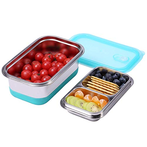 Hoxierence Bento Box for Adults - 18/8 Stainless Steel 2 Layer Lunch Box Container - 34 Ounces - with Slip-Resistant Silicone Pad - for Office, School Teen or Outdoor Picnic - Blue