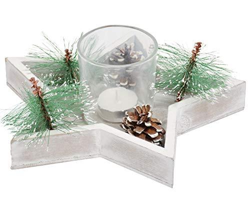 Holz Sterntablett Winterdekoration für Weihnachtsdeko 23 cm lang - Grau, Grün Dekoration