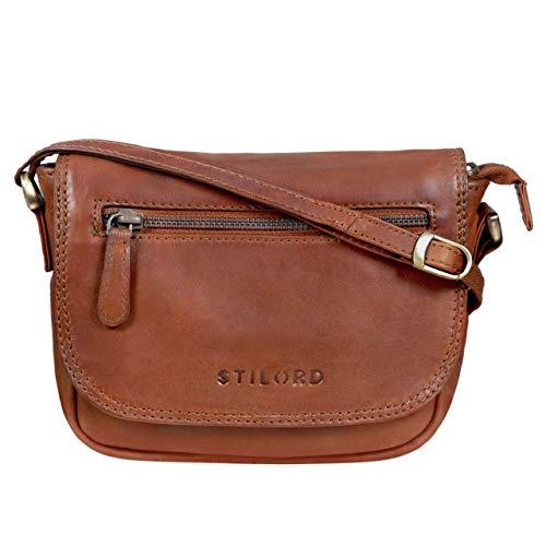 STILORD 'Elsa' Borsa piccola donna a tracolla in pelle vera Borsetta pochette clutch in cuoio stile vintage con cerniera, Colore:cognac-marrone, dimensione:M