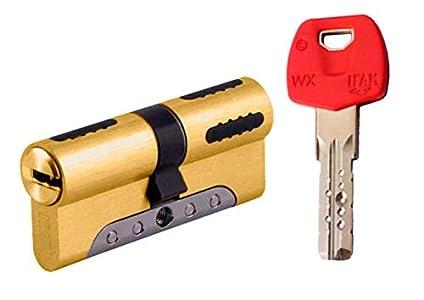IFAM WX1000 Bombin de seguridad 30x30 color LATON, reforzado, antirotura, antibumping, antitaladro, leva antiextracción, cerradura para puerta, incluye 5 llaves el cilindro y tarjeta de seguridad