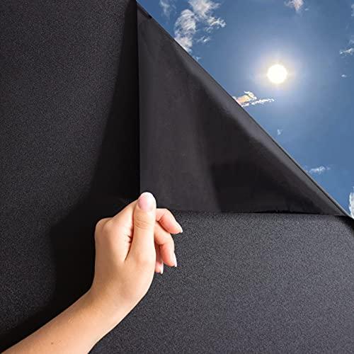 MARAPON® Fensterfolie selbsthaftend Blickdicht in schwarz [30x200 cm] inkl. eBook mit Profitipps - Verdunkelungsfolie mit hohem Sichtschutz - Sichtschutzfolie statisch haftend ohne Lichtdurchlass