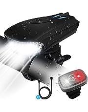 STATOR Luz Bicicleta,luces bicicleta Recargable USB con 400 Lúmenes IPX5 Impermeable,luces bicicleta delantera y trasera con 5 Modos,Luz LED Bicicleta para Carretera y Montaña- Seguridad para la Noche
