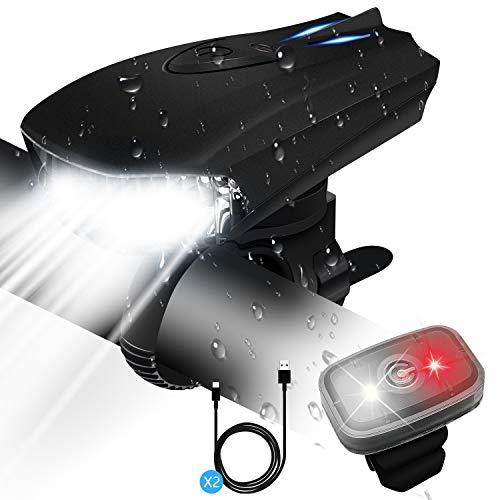 STATOR Luz Bicicleta,Luz Bicicleta LED Recargable USB con 400 Lúmenes IPX5 Impermeable, Luz Bicicleta Delantera y Trasera con 5 Modos, luces bicicleta para Carretera y Montaña- Seguridad para la Noche