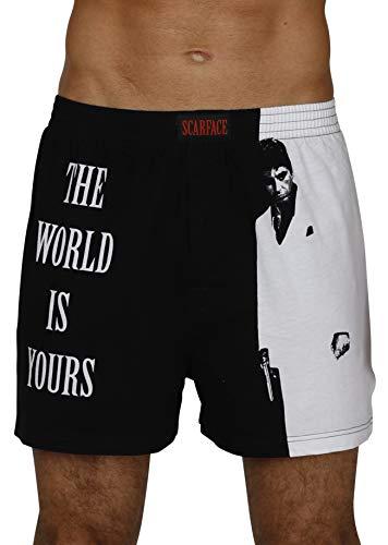 Prestigez Scarface Tony Montana Men's Pajama Shirt with Pajama Boxer Shorts Set, Size Large White