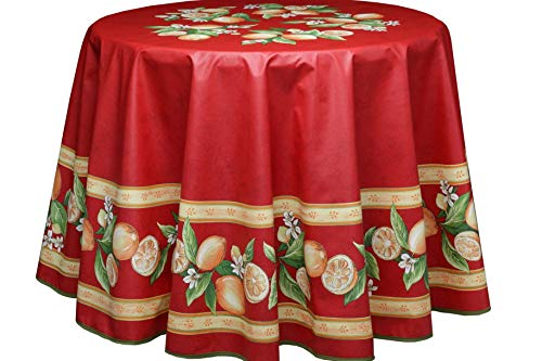 Tovaglia Provencet Menton Rosso con Limone Cotone Rotondo 180 cm