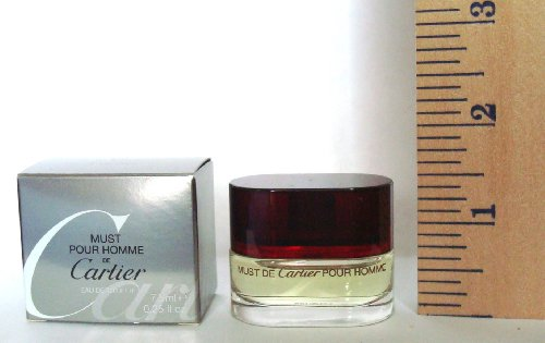 MUST POUR HOMME DE CARTIER. For Men. Eau De Toilette 7.5ml-0.25 oz. Splash. MINI (The Bottle is approx. 1-2inches high, NOT Full Size). Travel Size. New in Box. by Cartier
