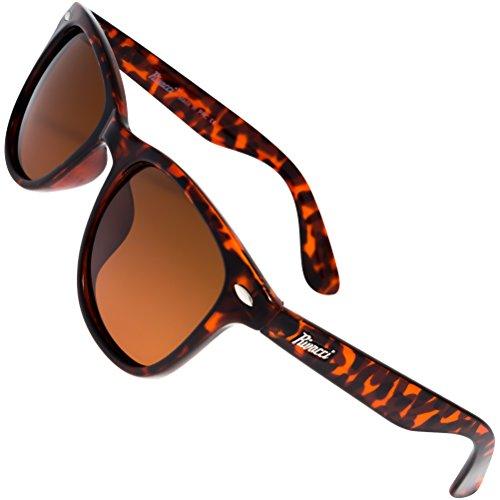 Rivacci - Gafas de sol polarizadas, diseño wayfarer (incluye funda y gamuza) 03 Wayfarer Ecaille Brun / Marron Polarisé Medium