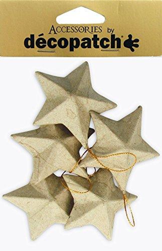 Décopatch NO009O - Un lot de 5 supports en papier brun mâché 3x8x8 cm, Etoiles
