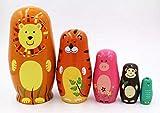 Elsatsang Matrjoschka-Puppen, 5 Stück, handgefertigt, Russisches Holz, süße Cartoon-Tier-Muster,...