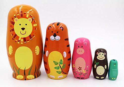Elsatsang Matrjoschka-Puppen, 5 Stück, handgefertigt, Russisches Holz, süße Cartoon-Tier-Muster, Nisting-Puppe, Spielzeug, Geschenk