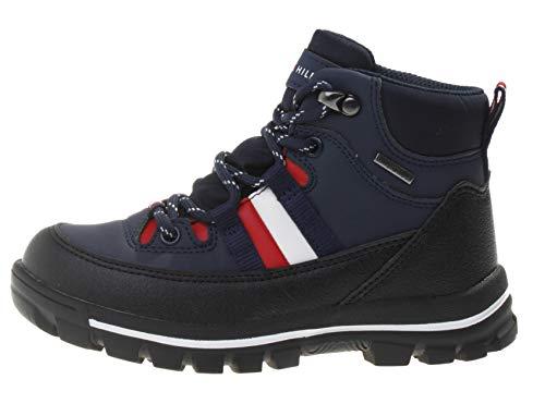 Tommy Hilfiger Kinder wasserfeste Winter-Stiefel Technical Bootie Stiefelette, Farbe:Blau, Größe:EUR 35